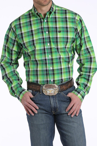 Men's Cinch L/S, Lime Green and Dark Green Plaid