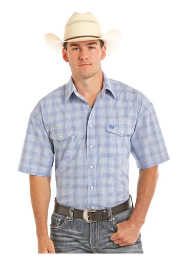 Men's Panhandle S/S, Blue Plaid, Snaps