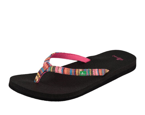 Women's Sanuk Flip Flop, Yoga Joy Funk, Black with Multicolor Strap