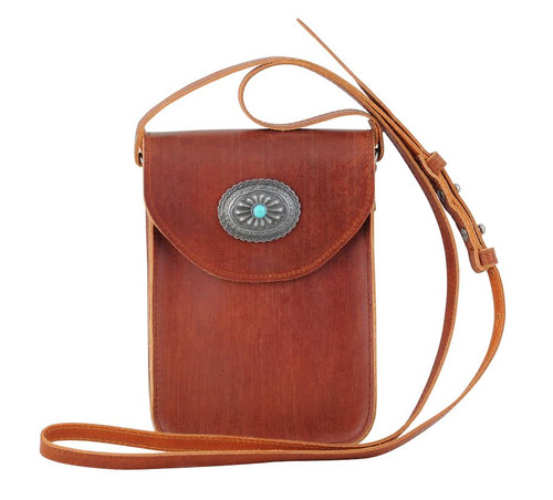 Most Wanted USA Crossbody, Brown with Concho Flap
