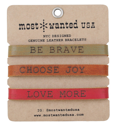 "Most Wanted USA Bracelet, 3 pack, ""Brave, Joy Love"""