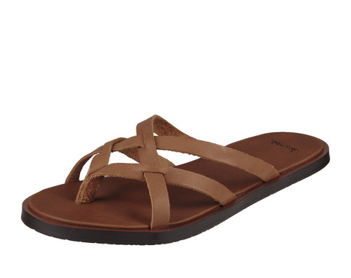 Women's Sanuk Flip Flop,Yoga Strappy Brown with Brown Criss Cross Strap