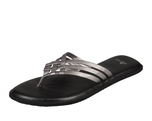 Women's Sanuk Flip Flop,Yoga Salty, Black with Metallic Silver Criss Cross Strap
