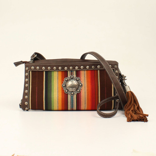 Women's Blazin Roxx Purse, Crossbody Serape with Brown Leather
