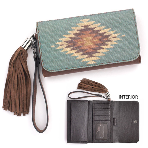 Women's Blazin Roxx Wallet, Zapotec, Turquoise with Aztec Design