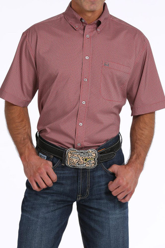 Men's Cinch S/S, Arena Flex Red with White Print
