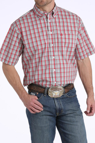Men's Cinch S/S, Arena Flex Red with Gray Plaid