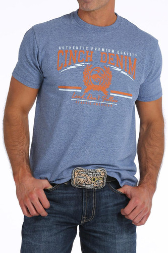 Men's Cinch Tee, Blue with Orange and White Logo