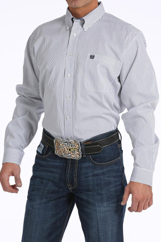 Men's Cinch L/S, White with Blue Pinstripe