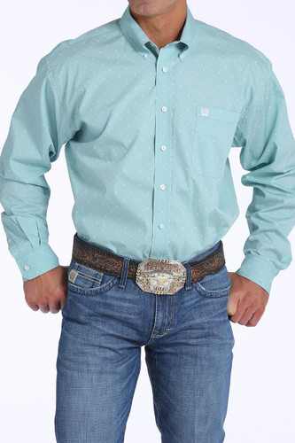 Men's Cinch L/S, Light Blue with White Print