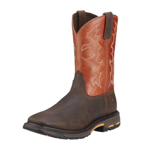 Men's Ariat Work Boot, Orange/Brown Workhog, Wide Square Toe