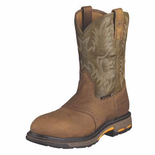 Men's Ariat Work Boot, Steel Toe, Green Top w/Round Toe