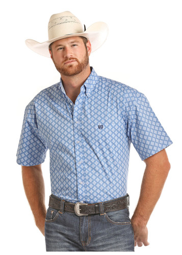 Men's Panhandle S/S, Blue with White Print