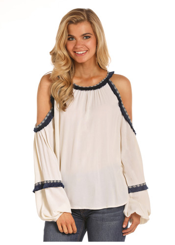 Women's Rock & Roll Top, Ivory Cold Shoulder, Navy Trim