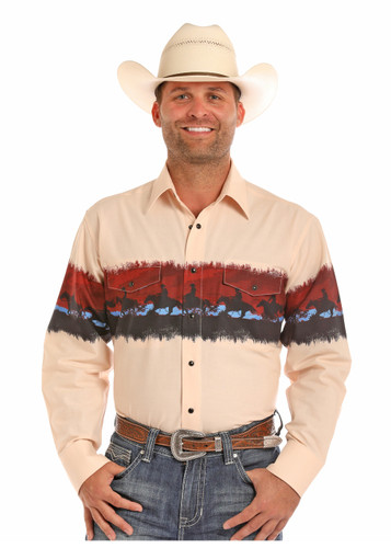 Men's Panhandle L/S, Tan with Scenic Border, Snaps