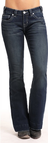 Women's Rock & Roll Jean, Trouser Fit, Dark Wash, Curved V Leather Pocket