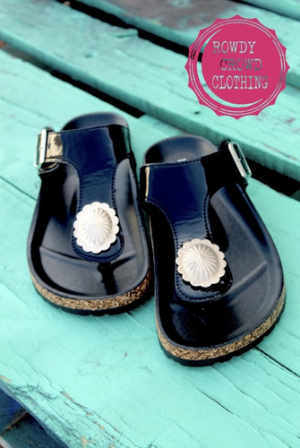 Women's Rowdy Crowd Sandals, Shiny Black with Silver Concho