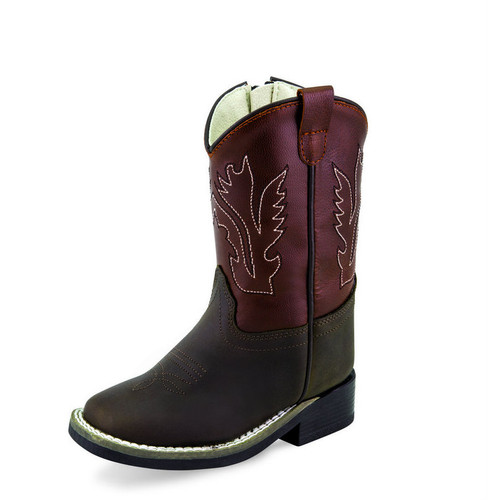 Toddler Old West Boots, Dark Brown with Maroon Shaft