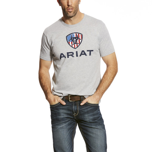 Men's Ariat Tee, Liberty, Gray with Flag Logo