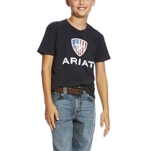 Kids Ariat Tee, Liberty USA, Navy