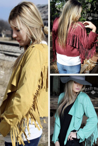 Women's Crazy Train Blazer, Calamity Jane, Suede with Fringe, Assorted Colors