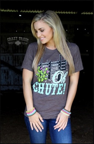 "Women's Crazy Train Shirt, Heather Brown, ""Oh Chute"""