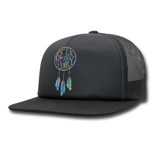 Women's Hooey Cap, Dream Catcher, Black with Black Mesh Trucker, Watercolor Dreamcatcher