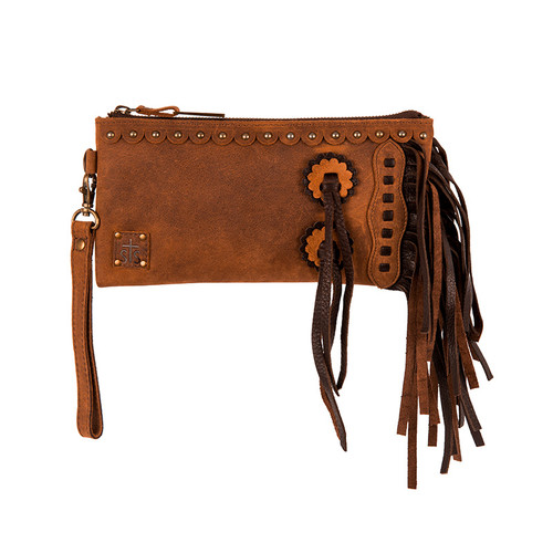 Women's STS Purse, Chaps Clutch, Tornado Tan with Fringe