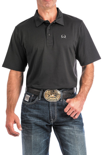 Men's Cinch S/S, Arena Flex Polo, Solid Black