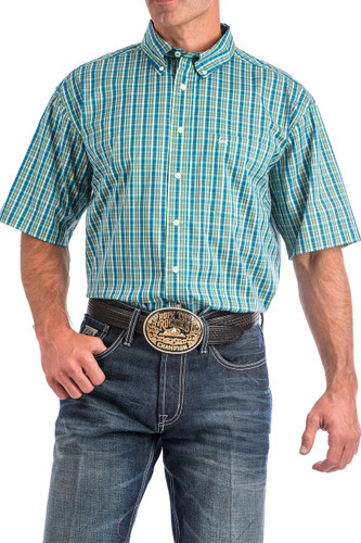 Men's Cinch S/S, Arena Flex, Green and Blue Plaid