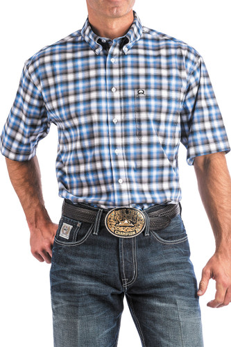Men's Cinch S/S, Arena Flex, Blue Black and White Plaid