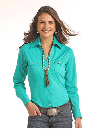 Women's Panhandle L/S, Turquoise with Pearl Snaps