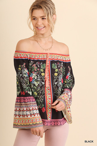 Women's Umgee L/S, Off Shoulder Floral Print, Bell Sleeve
