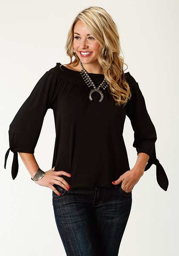 Women's Roper Top, Black Off Shoulder, Tied Sleeves