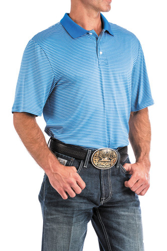 Men's Cinch S/S, ArenaFlex, Blue and White Stripes