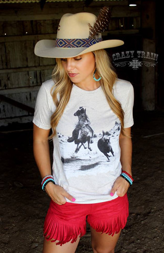 Women's Crazy Train Tee, Headed For A Fall, Oatmeal