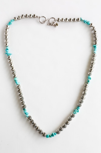 West & Co. Necklace, Burnished Silver Melon Bead with Turquoise Stone Accent