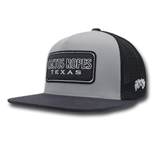 Men's Hooey Cap, Cactus Ropes, Gray and Black Trucker