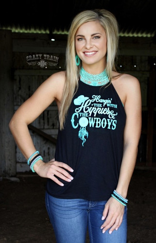 Women's Crazy Train Tank, Hippies and Cowboys