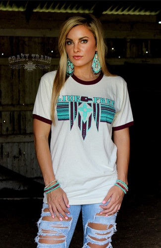 Women's Crazy Train Tee, Live Free