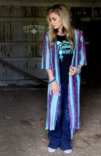 Women's Crazy Train Duster, Rio Frio, Blue and Purple Serape