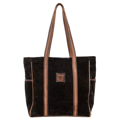 Women's STS Purse, Heritage Tote, Brown Suede with Leather