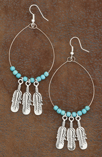 West & Co. Earrings, Burnished Silver/Turquoise 3 Hanging Feathers