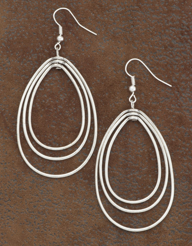 West & Co. Earrings, Silver 3 Layer Teardrop