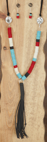West & Co. Necklace, Red, Turquoise, White, Black Large Disk Bead, Buffalo Charm