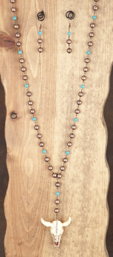 West & Co. Necklace and Earrings, Copper and Turquoise Bead with Cow Skull