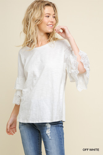 Women's Umgee Top, Layered Crochet Bell Sleeve