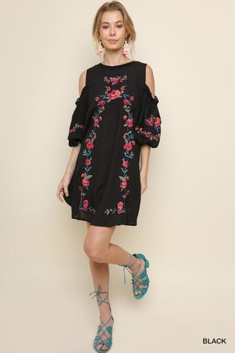 Women's Umgee Dress, Cold Shoulder, Embroidered, Puff Sleeve
