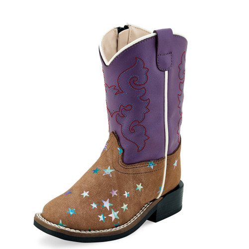 Toddler Old West Boots, Purple Shaft, Brown Vamp  with Stars