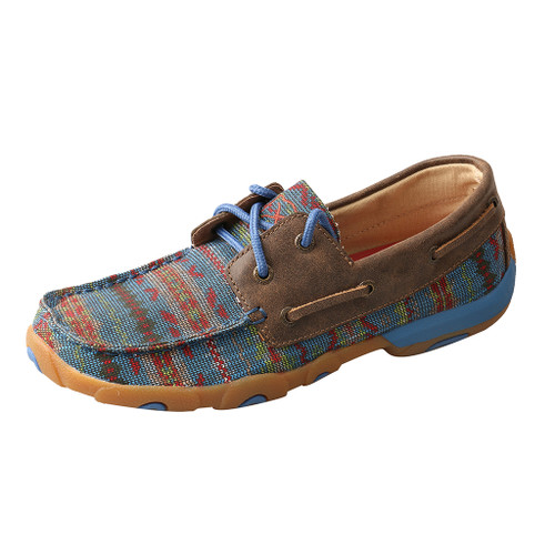 Women's Twisted X Driving Moc, Turquoise, Multi Color Aztec